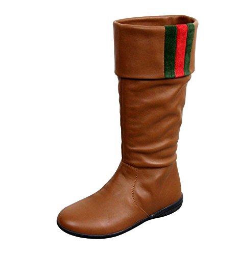 Price comparison product image Gucci Unisex Kids Brown Leather Boots Signature web detail 285230 (US 12)