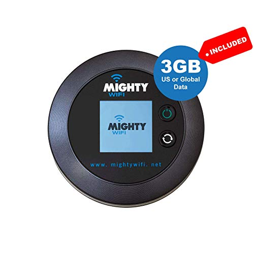 Mightywifi Cloud Black Updated Worldwide high Speed Hotspot w/US 3 GB & Global 3GB Data 30 Day, Pocket Mifi, Personal…