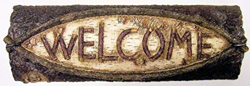 DistBby Classyjacs - Resin Plastic Wood Like Sign - Shaped Like Half Log - with The Word Welcome Letters Shape Like Twigs - (Dark Brown Tree Bark Finish - Off ()
