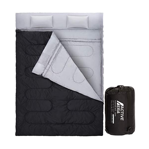 Active Era Double Sleeping Bag - Water Resistant and Lightweight Queen Size with 2 Pillows & Compression Bag, Converts into 2 Singles - 3 Seasons 32F, Perfect for Camping, Hiking, Outdoors & Travel 3
