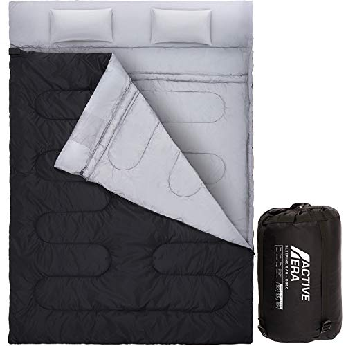 Active Era Double Sleeping Bag - Water Resistant and Lightweight Queen Size with 2 Pillows & Compression Bag, Converts into 2 Singles - 3 Seasons 32°F, Perfect for Camping, Hiking, Outdoors & Travel