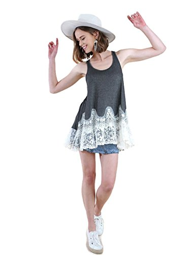 Umgee Women's Floral Lace Racerback Tunic Tank Top Hippie Gypsy (Small, Charcoal)