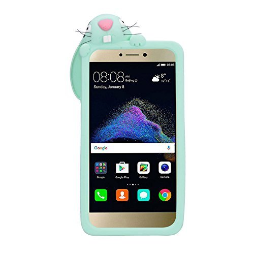 P9 Lite 2017 Conejo Case, Vandot Fashion 3D Lovely Cartoon Buck Teeth Bunny Rabbit Rubber Series Soft Silicone Back Case Cover para Huawei P9 Lite 2017 / P8 Lite 2017 / Huawei Nova Lite / Honor 8 Lite Rabbit Verde
