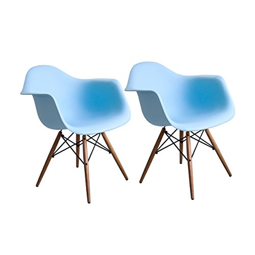 Buschman Set of Two Blue Eames-Style Mid Century Modern Dining Room Wooden Legs Chairs, Armchairs