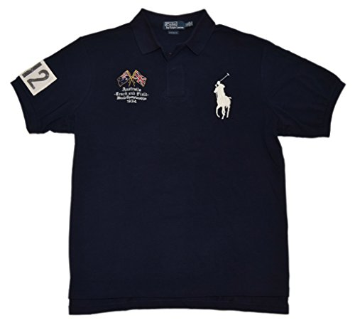 RALPH LAUREN Polo Mens Big Pony Custom Fit Australia Track Field Shirt Navy - Australia Ralph Polo