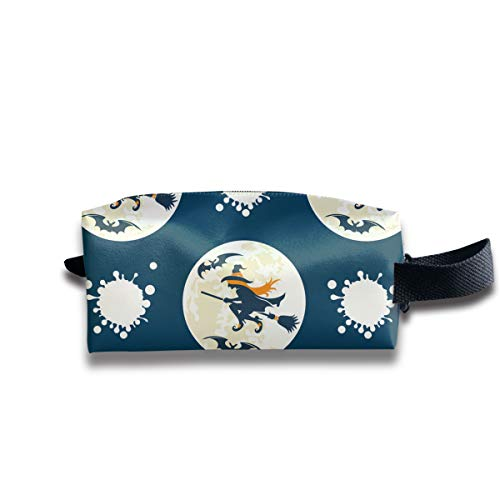 Witches Drive Stick Patterns Makeup Cosmetic Case Women Cosmetic Train Case Pouch - Multi-Purpose Clutch Bag Pens Pencil Case, Carrying Case for Cosmetics, Pen, Eyeliner, Travel