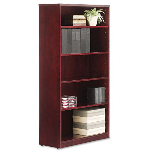 Alera Verona Veneer Series Bookcase, 5 Shelves, 36 W by 14 D by 66 H, Mahogany
