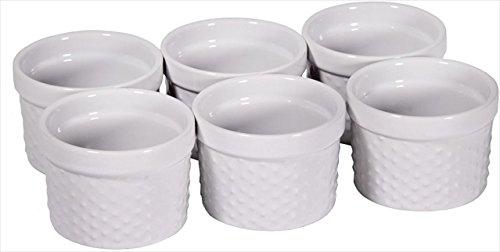 Home Essentials 66470 Mini Stoneware Hobnail White Ramekins 4 oz ()