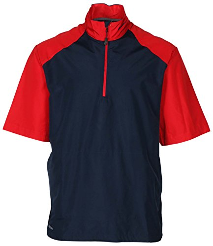 Nike Tiger Woods Pullover - Nike Men's Storm Fit 1/2 Zip Short Sleeve Football Jacket-NavyBlue/Red-XS