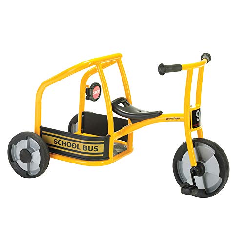 Winther School Bus Tricycle for Two, Trike with Passenger Seat for Kids