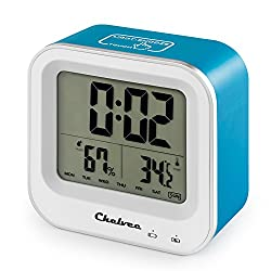 Alarm Clock, Chelvee Rechargeable Large LCD Screen Alarm Clock with Time/Date/Temperature/Humidity Display, Snooze Function, Comfort induction, Built-in Lithium Battery (Blue)