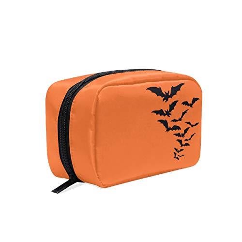 Thomas Eugene Large Capacity Square Shape Halloween Bat Print Zipper Cosmetic Bag(6.5 x 2.5 x 4 in) ()