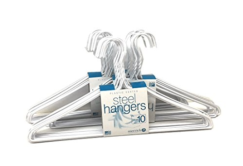 30 Sets of Vinyl Coated Heavy Duty Wire Cloth Hanger Plastic Coated Metal Wire Coat Hanger Hook - White Color 16