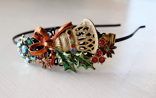 Handcrafted Vintage Christmas Jewelry Headband - Antique Jewelry Collection Headband - Christmas Jewelry Art - Adult Headband - Adult Tiaras by The Pearled Rose