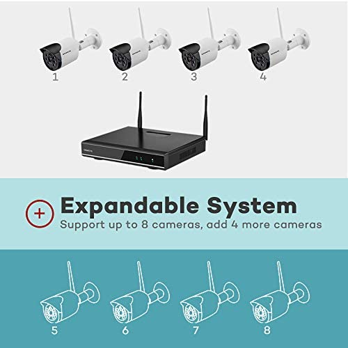 【Expandable 8CH, Audio】 ONWOTE 1080P Wireless WiFi Security Camera System Outdoor, 8 Channel NVR, (4) 1080P 2.0MP IP Security Surveillance Cameras for Home, One-Way Audio, 80ft IR, No Hard Drive 41l9X4tVDCL