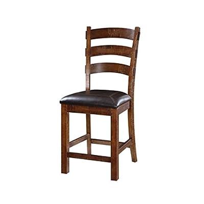 Emerald Home Furnishings Castlegate Barstool Bonded Leather Seat, Standard, Pine Em 002