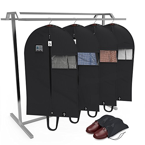 TOP QUALITY Garment Bags (Set of 4) + Shoe Bag - Breathable 42 Inch, Lightweight, Easy Carrying Shoulder Straps, Window For Viewing, PVC Card Holder, Anti-Moth Protector, Water Res, [Updated Version]