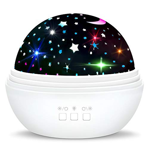 superwinky Star Night Light for Kids, Romantic Moon Light Projector for Kids Idea Gifts for 3-10 Year Old Girls Birthday Present Bedroom Decorations Xmas Stocking Fillers White WKUSD01