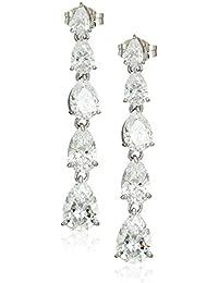 Platinum Plated Sterling Silver Swarovski Zirconia Multi shape Drop Earrings