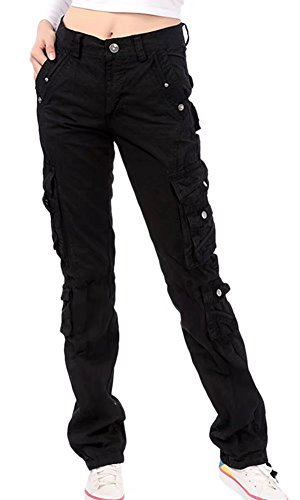 (NAWONGSKY Women's Utility Travel with Pockets Straight Fit Cargo Military Pants, Black, Tag 32 = US (6-8))