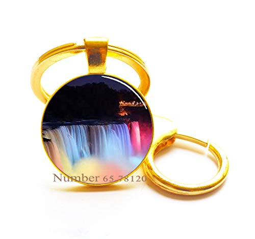 Niagara Falls at Night Key Ring, Photo Keychain,Wedding Jewelry Glass Jewelry,Christmas Gift,BV143 (V3) ()