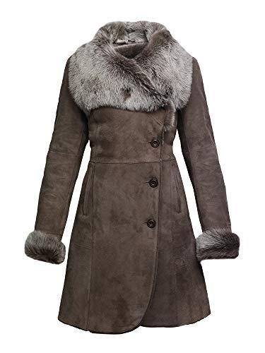 Brandslock Women Spanish Merino Genuine Shearling Sheepskin Leather Toscana Coat (X-Small / (Fits Chest: 32-34 inches), Dark Brown)