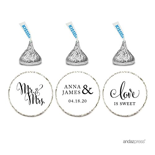 Andaz Press Personalized Chocolate Drop Labels Stickers, Wedding Love is Sweet, White, 216-Pack, Custom Name, for Bridal Shower Engagement Hershey's Kisses Party Favors -
