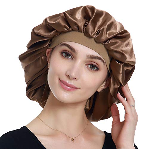 Satin Sleep Caps for Women Curly Hair Night Hat Coffee ()