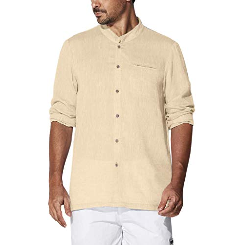 iHPH7 T Shirts Tops Blouses Solid Plus Size Casual Cotton Long Sleeves Solid Button Down Dress Shirts Men (XL,Khaki)]()