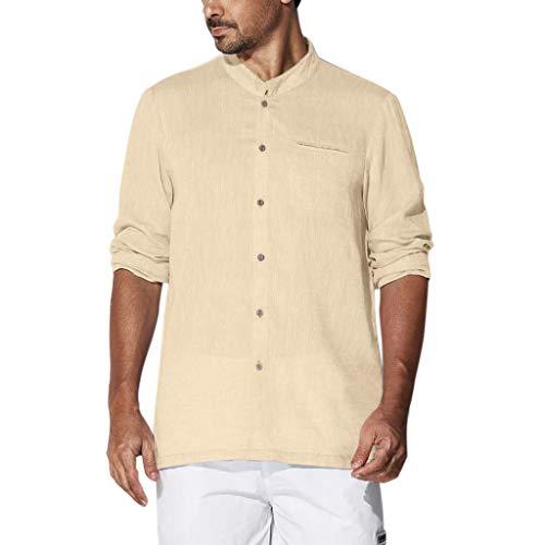 - TUSANG Men Tees Baggy Cotton Linen Solid Plus Size Long Sleeve T Shirts Tops Blouses Loose Fit Comfy Tunic(Khaki,US-12/CN-2XL)