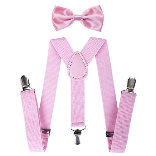 Child Kids Suspenders Bowtie Set - Adjustable Suspender Set for Boys and Girls (Pink, 30Inches (6 Years to 5 Feet Tall)