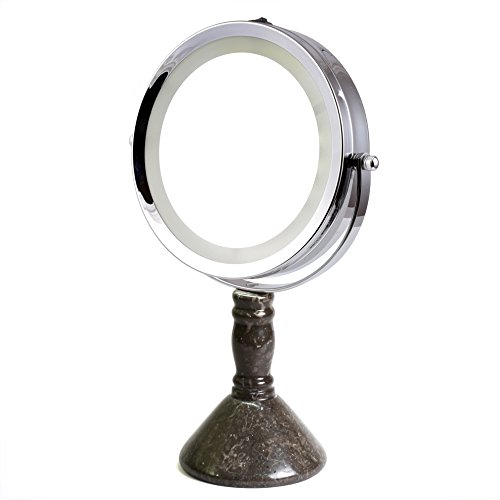 "Creative Home 33097 Deluxe 7"" Double Sided Swivel Vanity Led Mirror with 1X, 7X Magnification & Charcoal Marble Stone Pillar Stand, chic"
