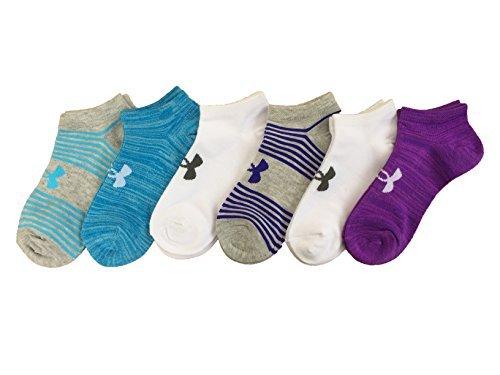 Under Armour Women`s Big Logo No-Show Socks (6 Pack) (Blue Stripes (UL398) / White/Heather Blue/Heather Purple, Medium) by Under Armour