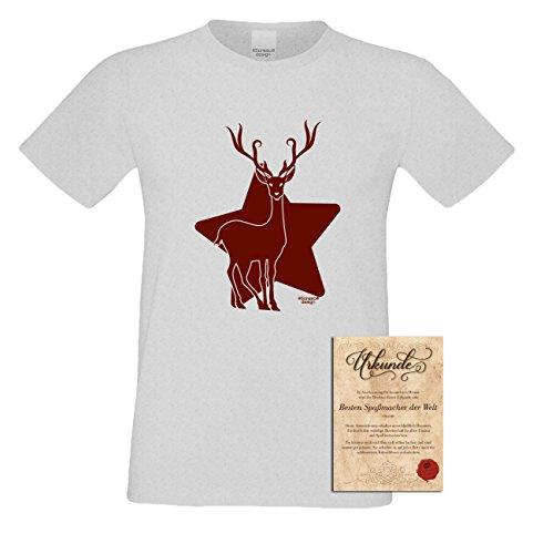 T-Shirt - Rentier mit Weihnachts Stern Shirt Farbe Grau - Weihnachtsshirt als Outfit für die Festtage