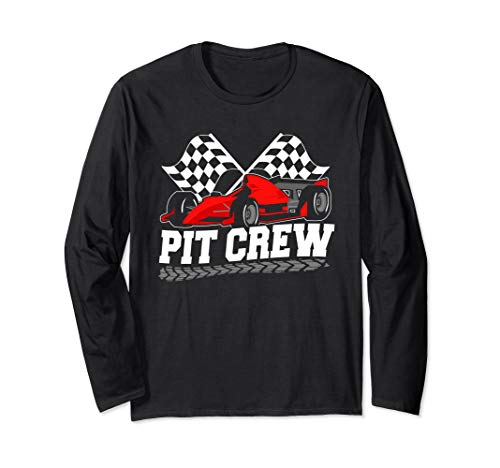 T-shirt Checkered Flag - Pit Crew Car Racing Checkered Flag Racing Party Long Sleeve T-Shirt