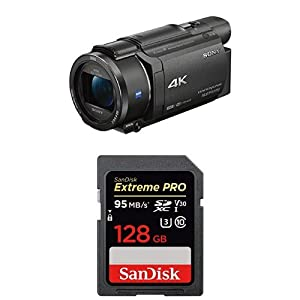 Sony FDRAX53/B 4K HD Video Recording Camcorder (Black) with SanDisk Extreme Pro 128GB