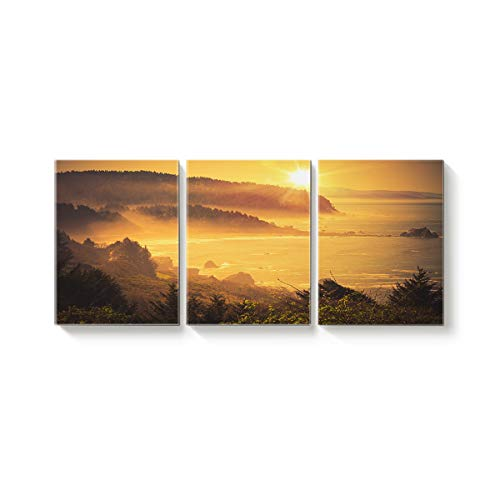 3 Panel Modern Canvas Wall Art Home Decor Forest and Sea Scenery at Sunset Oil Painting Giclee Artwork for Wall Decor 12x20inx3