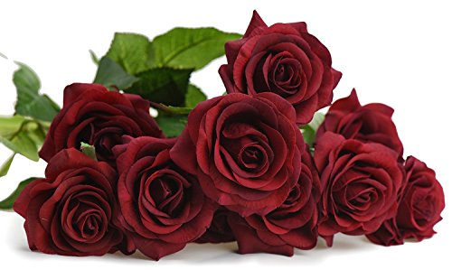 FiveSeasonStuff 10 Dark Red Stems of Real Touch Silk s 'Petals Feel and Look like Fresh Roses' Artificial Flower Bouquet for Wedding Bridal Office Party Home Decor (Bouquet Rose Flowers)