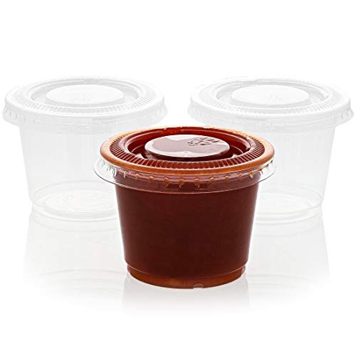 Transparent Portion Cup - Juvale 250-Pack Plastic Portion Control Cups with Lids for Jello Shots, Condiments and Sauces, 2.5 Ounces