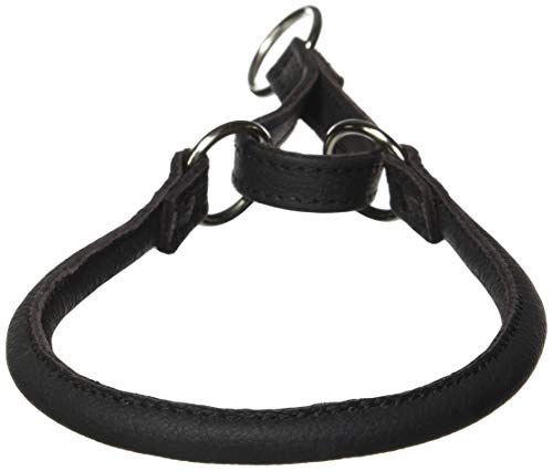 Dogline 3/8-Inch Wide Soft Rolled Genuine Leather Martingale Collar, 18-Inch, Black