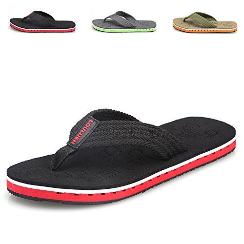 CIOR Men's Handmade Fashion Beach Slipper Indoor and Outdoor Classical Flip-flop Thong Sandals,Black,43