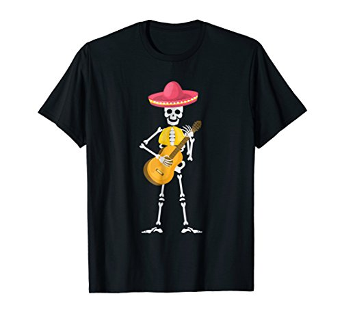 Mexican Mariachi Skeleton With Hat And Guitar T-Shirt