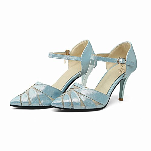 Mee Shoes Damen ankle strap Mesh high heels Pumps Blau