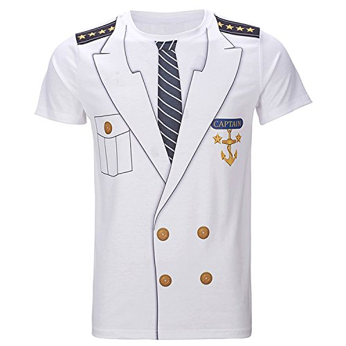 Men's T-Shirts Funny Cosplay Halloween Tee Adult Man Top Pilot Uniform 3D Plus Size]()