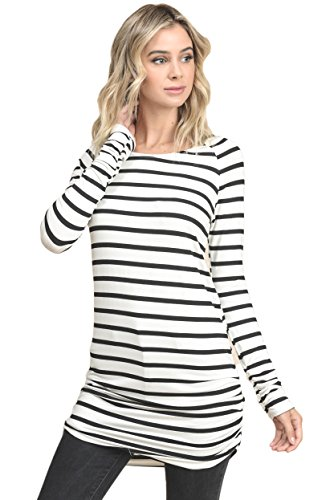 Vanilla Bay Long Sleeve Striped Ruched Top Black