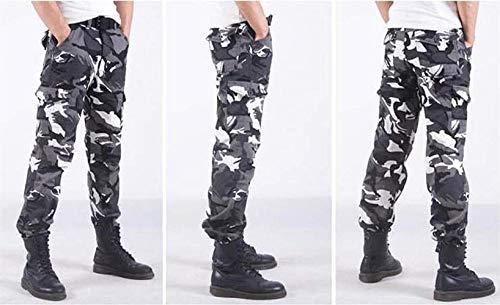 Negro Pantalones Algodón Ropa Hombres Bobolily Recta Carga Camuflaje invierno Combatir Suelta Otoño Terciopelo De Trabajo Cálido xR0qgT