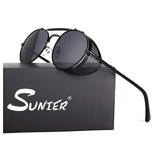 Sunier Retro Round Steampunk Sunglasses Side Shield Goggles Gothic Sun Glasses, Black Frame Black Polarized Lens, Medium