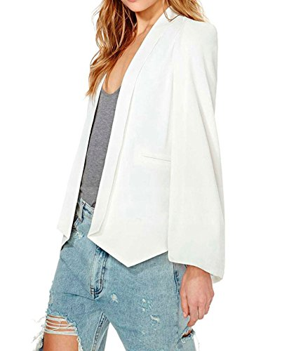 Face N Face Women's Long Sleeve Casual Cape Suit Workwear Blazers US XL/Tag XXL White ()