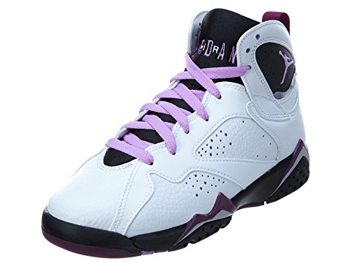 NIKE Jordan Kids Air Jordan 7 Retro GG White/Fuchsia Glow/Blk/Mlbrry Basketball Shoe 7 Kids US