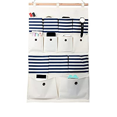 LOHOME Pastoral Style Linen Cotton Blended Multi-layer 8 Pockets Wall Over the Door Storage Organizer Hanging Bag Wall Storage Bags Holder Space Saver Home Organizer